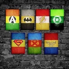 Justice League minimalist poster set comic poster geekery art vintage