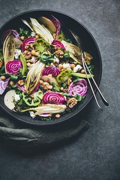 20 Gorgeous Beet Salads to Spring You Into Summer: Chioggia Beet, Endive & Quinoa Rainbow Salad with Endives, Fennel, Walnuts, Apples, Tomatoes, Avocadoes, Organic Goat's cheese