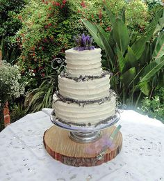 Amy and Dylan's rustic styled wedding cake : 3 tiers of coffee & pecan sponge, filled with coffee buttercream and covered with textured vanilla buttercream. Fresh sprigs of lavender dress the base of each tier. Coffee Buttercream, Lavender Dresses, Rustic Style, Pecan, Amy, Wedding Cakes, Fresh, Future, Desserts