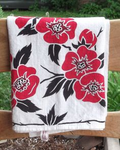 Beautiful bright scarlet red and deep black printed MARTEX tea towel Quince flowers by vakvar on Etsy