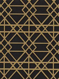 Bird Botanical Trellis Wallpaper in Black and Gold | AmericanBlinds.com