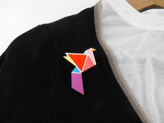 Bird Brooch Pin Geometric Neon Origami