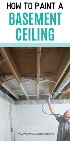 Learn how we painted our basement ceiling in a weekend! Make your unfinished basement ceiling look amazing with budget friendly paint! Basement Craft Rooms, Old Basement, Basement Painting, Rustic Basement, Basement Laundry, Basement House, Basement Stairs, Basement Ideas, Basement Office