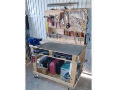 Établi en bois de palette avec rangements pour tout l'outillage bricolage,palettes,recyclage,établi