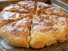 Glazed Cinnamon Scones -- these are the BEST! If you like scones, this is a MUST-TRY recipe! I added cinnamon chips to the batter, also. SO YUMMY ! Breakfast And Brunch, Breakfast Dishes, Breakfast Recipes, Dessert Recipes, Scone Recipes, Scone Recipe Easy, Breakfast Scones, Breakfast Salad, Roll Recipe