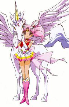 セーラーちびムーン(ちびうさ)とペガサス(エリオス) Sailro Chibi Moon (ChibiUsa) and Pegasus (Helios) - Sailor Moon SuperS
