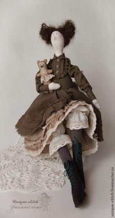 Купить Эмили - коричневый, тильда, подарок, винтажный стиль, интерьерная кукла, текстильная кукла