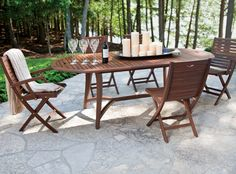 Topaz Oval Extension table and folding chairs by Jensen Leisure. Available from Rich's for the Home http://www.richshome.com/