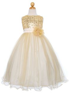Gold Sequined Bodice with Double Tulle Skirt Flower Girl Dress (Sizes 2-14 in 10 Colors) - Flower Girl Dresses - GIRLS