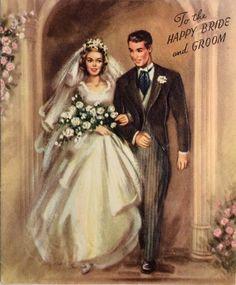 Wedding Cakes Gorgeous Bride Handsome Groom Walking out Church Vintage Wedding Greeting Card Vintage Wedding Cards, Wedding Art, Vintage Bridal, Vintage Cards, Wedding Vows, Wedding Cakes, Wedding With Kids, Trendy Wedding, Vintage Groom