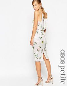ASOS Petite | ASOS PETITE SALON Drape Back Floral Iridescent Sequin Pencil Dress at ASOS