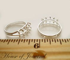 Lot of 4 Silver Plate Ring Base Blanks LOOPS add Beads by joiwind, $3.30