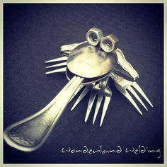 Frog metal sculpture crafted from silverware & by BarbieTheWelder