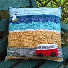PDF Crochet Pattern Campervan Travels Day at the Beach Cushion - Slightly Sheepish Crochet Cushion Cover, Crochet Cushions, Crochet Pillow, Blanket Crochet, Crochet Granny, Knitting Yarn, Knitting Patterns, Crochet Patterns, Crochet Blocks