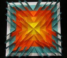 """""""Sunburst"""" Paper Dart Sculpture by Annie Rogers Time Frame: 1 hour Skill Lev… - Kunstunterricht Classroom Art Projects, School Art Projects, Art Classroom, 6th Grade Art, Math Art, Found Art, Collaborative Art, Art Lessons Elementary, Sculpture Art"""