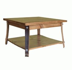 Square Barrel Stave Leg Coffee Table.  Matching end table also available.  Many stain colors to choose from.  Available on Lights in the Northern Sky.
