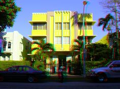 """1051-55 Meridian Avenue - The Flamingo Plaza Hotel - Built: 1938 - Architect: L. Murray Dixon - Style: Art Deco - Google """"anaglyph glasses"""" to view in 3D!"""