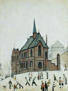 Old Chapel, Newcastle upon Tyne: Laurence Stephen Lowry British, English. View all 215 artworks. Salford, Unique Paintings, Your Paintings, Watercolor Landscape, Watercolor Art, Art Eras, English Artists, British Artists, Nostalgic Art