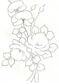 pintura-em-tecido riscos para pintar rosas