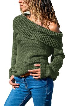 Green Turn-down Collar Show Shoulder Ribbed Sweater 741979e68
