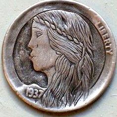 DAVID JONES - PRETTY GIRL - 1937 BUFFALO NICKEL Hobo Nickel, David Jones, Buffalo, Carving, Pretty, Art, Art Background, Wood Carvings, Kunst