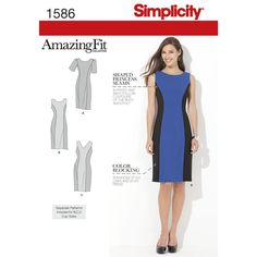 Simplicity 1586. misses' & plus size dress with sleeve and neckline variations. individual   patterns for slim, average & curvy fit & b, c, d cup size for miss & c, d, dd cup sizes for plus.