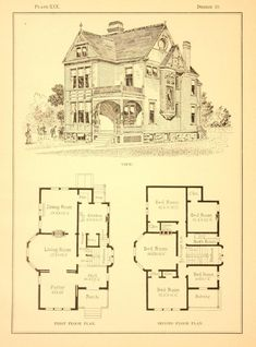 Modern cottages, contains 125 illustrations of cottages, dwellings, and miscellaneous work Victorian House Plans, Vintage House Plans, Victorian Homes, Victorian Architecture, Architecture Plan, Building Plans, Building Design, Bed In Living Room, Modern Cottage