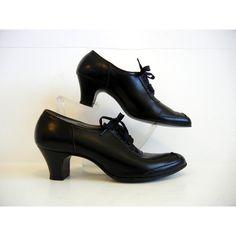 ee70d05d2b17ab shoes   So Bonnie Parker Vintage Black lace Up Cuban Heel Granny Shoes
