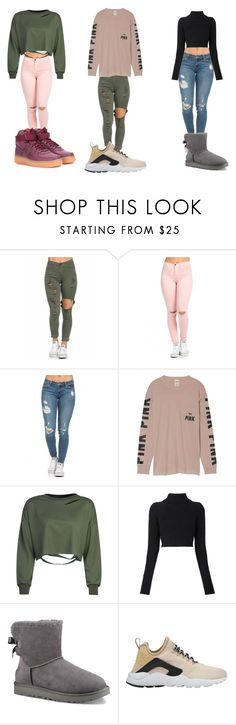 """""""Head turner"""" by carolinevcm on Polyvore featuring Victoria's Secret, WithChic, Balmain, UGG and NIKE"""