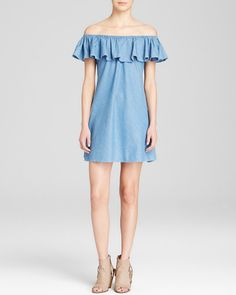 Pin for Later: 50 Reasons to Embrace Spring's Off-the-Shoulder Trend Alexa Chung For Ag Dress Honey Off the Shoulder Denim Ruffle Alexa Chung For Ag Dress Honey Off the Shoulder Denim Ruffle (£157)
