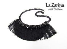 """Collana ispirazione anni '20 con frangia nera - """"Ada"""" - A black necklace with fringe and crystal in 20s style from La Zarina delle Collane"""