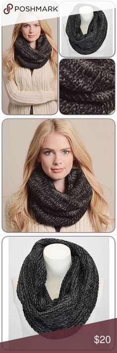 "Marled Infinity Scarf Snood Black Charcoal Stay cute & cozy in this beautiful black & charcoal marled infinity scarf/snood. 21"" x 14"" 100% Acrylic No Need for twists or knots...just slip over your head for instant warmth & style Accessories Scarves & Wraps"