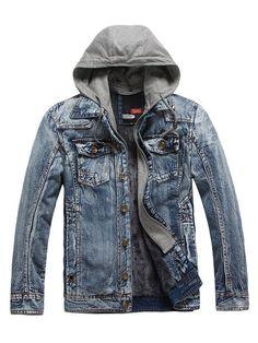 Men s Denim Jacket Black Blue Wash Hooded Jean Jacket  jeans Latest Mens  Fashion f1309868693c