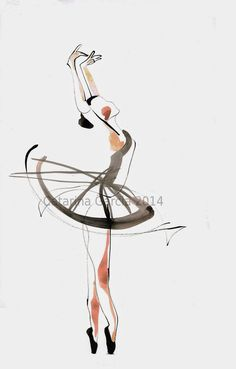 ballet sketches | Ballet Dance Drawing : Ink and watercolor on papel