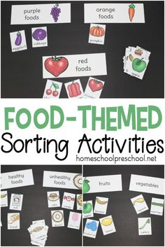 Print out and sort all types of foods with this pack of preschool food theme sorting activities. Sort by color, fruits and vegetables, healthy and unhealthy foods. #homeschoolprek #prekathome #preschool #prek #preschoolfoodtheme #foodunitstudy #sortingactivities https://homeschoolpreschool.net/preschool-food-theme-sorting/