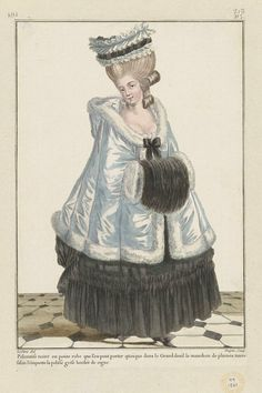 """Gallerie des Modes, """"Polonaise noir ou petit robe…"""" Outerwear and a super cute muff! Rococo Fashion, French Fashion, Vintage Fashion, Women's Fashion, Costume Français, Mourning Dress, 18th Century Fashion, Thing 1, Historical Clothing"""