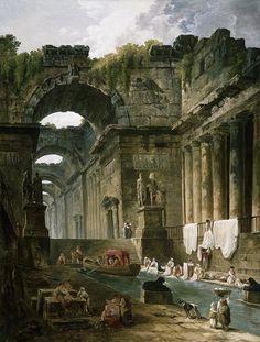 Hubert Robert, French, (1733-1808) Ruins of a Roman Bath with Washerwomen