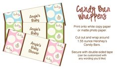 printable baby shower candy bar wrappers - polka dots!