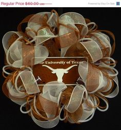 ON SALE - Sports Wreaths, Texas Longhorns, College Football, Longhorn Decor, Sports Decor, Longhorn Decorations, Poly Mesh, Deco Mesh, Burn on Etsy, $54.00