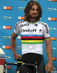 Peter Sagan, in the World Champion rainbow jersey,  Tour de France Team presentation 2016.