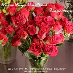 Red roses from Cottage Flowers, St. Simons Island, GA