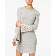 American Rag Juniors' Cotton Crocheted-Trim Sweater Dress, Created for... ($50) ❤ liked on Polyvore featuring dresses, grey, rib dress, gray cotton dress, gray sweater dress, cotton dress and ribbed dress