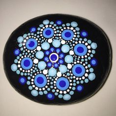 Hand Painted Mandala Stone Mandala Meditation Stone by MafaStones...beautiful blues!
