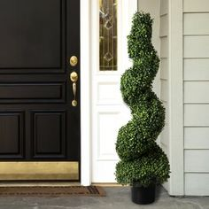 Pure Garden Artificial Boxwood Spiral Tree with Realistic Leaves, Beautiful Faux Plant for Indoor-Outdoor Home Topiary with Planter *** Look into the image by visiting the link. (This is an affiliate link). Topiary Plants, Topiary Trees, Potted Trees, Topiary Garden, Boxwood Landscaping, Landscaping With Rocks, Front Yard Landscaping, Landscaping Design, Farmhouse Landscaping