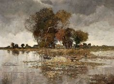 Karl Heffner (1849-1925) - Trees on the Riverbank