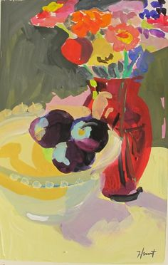 Red Vase Purple Plums by LindaHunt on Etsy Red Vases, Impressionist Art, Figurative Art, Gouache, Still Life, Sculptures, Symbols, Fine Art, Matisse