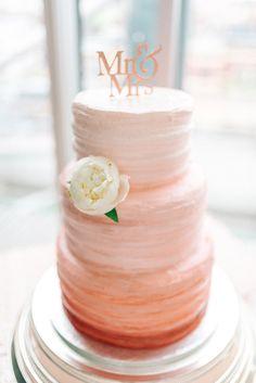 Gemy Maalouf Wedding Dress for a Peach & Gold Wedding at The Baltic Coral / Peach Ombre Wedding Fros Coral Wedding Cakes, Coral Wedding Themes, Wedding Cakes With Flowers, Wedding Colors, Peach Wedding Theme, Coral Weddings, Coral Cake, Flower Cakes, Cake Wedding