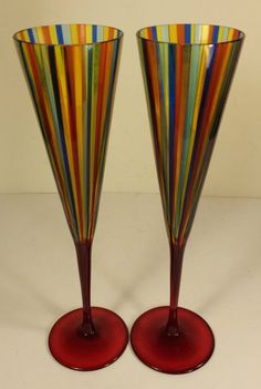 PAIR OF SIGNED GINO CENEDESE STUDIO ART GLASS  MULTI-COLOURED CHAMPAGNE FLUTES #GINOCENEDESE