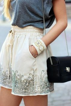 Embroidered Shorts With Handbag