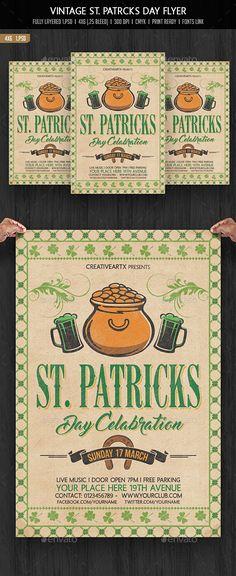 Vintage St. Patricks Day Flyer Template PSD. Download here: http://graphicriver.net/item/vintage-st-patricks-day-flyer/14970716?ref=ksioks